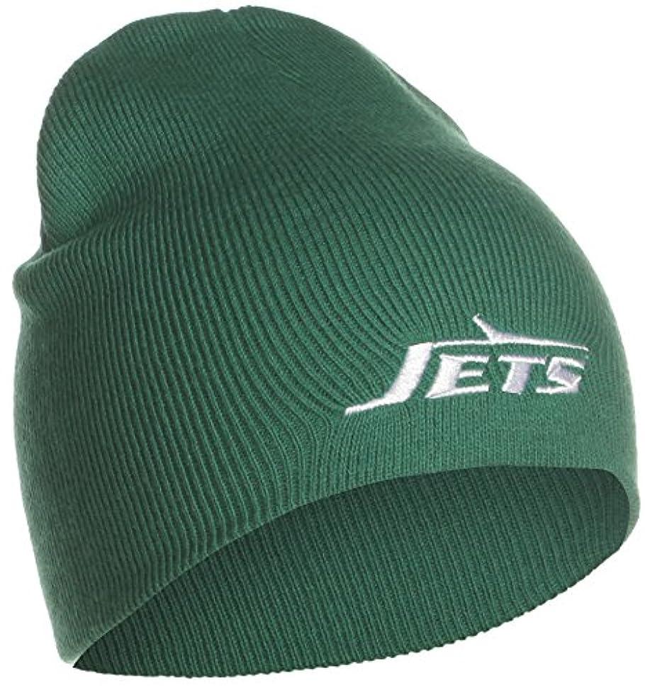 無駄に鉱石スキームNew York Jets (グリーン) Cuffedニットビーニー帽子/ toque-チームロゴ刺繍