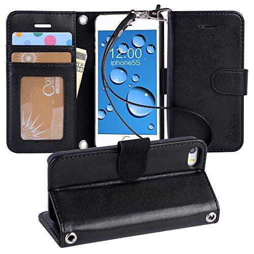 iPhone SE ケース / iPhone 5s ケース / iPhone 5 ケース 手帳型 Arae ストラップ 人気 おしゃれ 落下防止 衝撃吸収 カード入れ スタンド機能 マグネット アイフォン SE / 5s / 5 財布型 ケース カバー (iPhone SE/5S/5, ブラック)