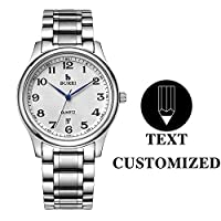BUREI クラシックメンズ腕時計 テキストカスタマイズDIY 日本製クォーツムーブメント 傷つきにくいレンズ ステンレススチールバンド 愛する人への特別なギフト