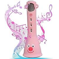 Tosing 誕生日プレゼント カラオケマイク おもちゃ ポータブルスピーカー 高音質カラオケ機器 Bluetoothで簡単に接続 無線マイク 一人でカラオケ Android/iPhoneに対応(Bluetooth microphone karaoke ) (ピンク)