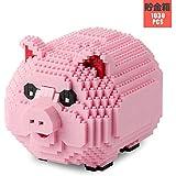 ブロック ミニブロック 知育玩具 豚おもちゃ 豚の貯金箱 ピンク 積み木 全年齢層適用 取扱説明書付き