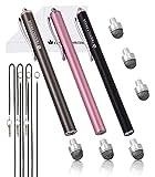 The Friendly Swede ペン先交換式 マイクロニットスタイラスペン 3本セット 交換用ペン先3個+携帯用ストラップ2本+マイクロファイバークリーニングクロス付き (Pink Black Gray)