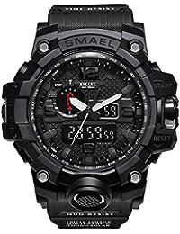 SMAEL オシャレ アナデジ 腕時計 メンズ 男性 アラーム クロノグラフ 多機能 スポーツウォッチ (ブラック)