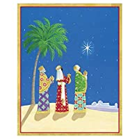 Caspari 3つのWisemen & North Star ミニボックスクリスマスカード – 16枚のカードと16枚の封筒