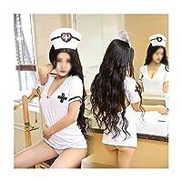 セクシーな制服誘惑女性スタイルランジェリーコスプレセクシーな深いV制服誘惑背中の開いたナースセット アダルト下着 (Color : White)
