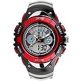 腕時計 防水 デジタル表示 多機能 子供用 付き スポーツウォッチ アウトドア ミリタリー ファッション (赤)
