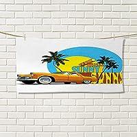 レトロモダンハンドタオルNostalgic WELCOME TO CUBA Artsy印刷クラシックカーBeach Ocean Palm treesvalentinesグリーンクリームイエロー 12