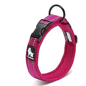 cocomall 犬首輪 犬の首輪 犬用訓練首輪 小型、中型、大型犬用首輪 ペット用品  3M反射材料  ナイロン製  通気性  弾力性 ソフト 調節可能   ハーネス リード (S, パープル)