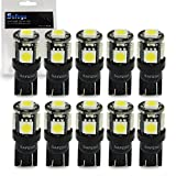 T10 194 Led 車用 球根 - Safego バルブウエッジタイプ 電球 高品質 車内ランプ W5W 194 168 2825 5連 5050 チップ SMD,黒ベース 置換ナンバー灯、クリアランスランプ、高輝度 環境省エネランプ 10個