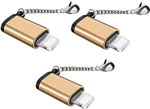 Jin【3個セット】Micro USB & Lightning変換アダプタ マイクロ USB ライトニング変換アダプタ 充電と高速データ転送アルミニウム合金 紛失を防ぐキーホルダー付き 8pin iPhoneX iPhone8 iPhone7 iPhone6s iPad mini 全機種対応 micro USB to iPhone 変換コネクタ(ゴールド)
