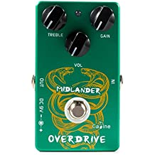 Caline Overdrive Guitar Effect Pedal, 9V DC Midlander Green Engineering Pedals Tuner for Guitar and Bass, True Bypass