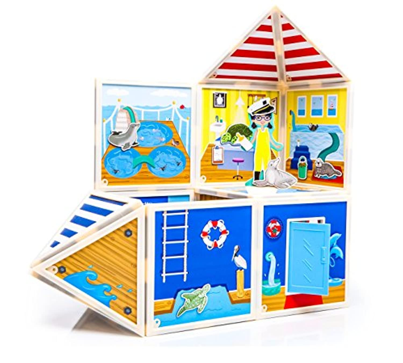 Build &想像: Marine Rescue Center ( Magnetic Building Set )