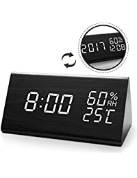 JOYNOTE目覚まし時計 木製 置き時計木目調デジタル 置き時計 大きなLED数字表示 大音量 アラーム 多機能 温度湿度計カレンダー付き 省エネ 音声感知 USB給電/電池 ナチュラル風 (黒・白字)