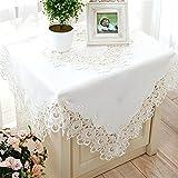 TaiXiuHome ヨーロピアンスタイルの ミニマリスト 花刺繍レース テーブルランナー ホロー トップデコレーション ホワイト 約 40x180cm