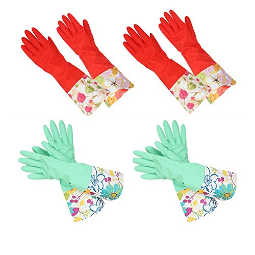 [해외]뒤에서 기모 천연 고무 장갑 워터 스톱 장갑 미끄럼 방지 가공 롱 타입 4 조 [해외 직송] [병행 수입품]/Back brushed natural rubber gloves Water stop glove Anti-slip processing Long type 4 pairs [Foreign direct items] [Parallel import go...
