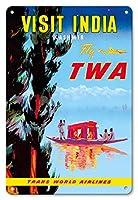 22cm x 30cmヴィンテージハワイアンティンサイン - インドを訪問 - カシミール - TWAフライ - ビンテージな航空会社のポスター c.1950