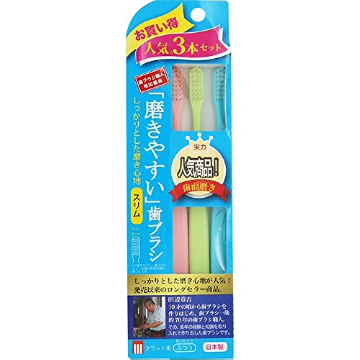 二層ルート比べる磨きやすい歯ブラシ フラット毛 スリム 3本組
