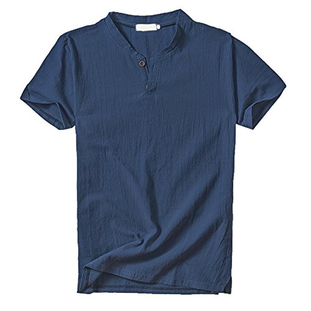 飢屋内ヒップLITTHING Tシャツ メンズ Vネック 亜麻半袖Tシャツ カジュアル 薄手 ゆったり快適 通気 Mens Short T-Shirt slim fit