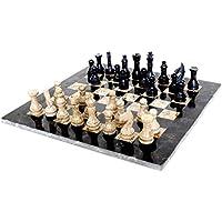 Radicaln 16 Inches Largeハンドメイド大理石フルブラックと化石サンゴWeightedチェスゲームセットStaunton大使とギフトスタイル大理石トーナメントチェスセット – Non木製 – Non磁気 – Notバックギャモン