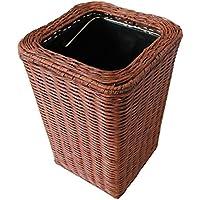 収納 かご バスケットックス ブラウンラタン家庭用ごみ箱ファッションクリエイティブなしカバートイレキッチンスクエアゴミ箱True True Rattan素材手作り籐 Rollsnownow (サイズ さいず : 6L)