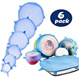 Silicone Stretch Lids - Eco Storage, Blue, 6 Pack, Range of Sizes - Reusable, Durable and Expandable