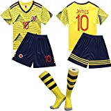 『FFQF ワールドカップキッズサッカースーツセットソックス、小学校大会ジャージ、コロンビアチーム第10、ハメス』画像