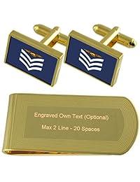 RAF エアフォースワン Insignia ランク軍曹搭乗員ゴールドトーン カフスボタン お金クリップを刻まれたギフトセット