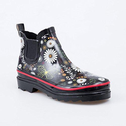(Wansi) レディース ショート レイン ブーツ シューズ レインブーツ 雨靴 長靴 長ぐつ 梅雨対策 滑り止め レインシューズ レイングッズ ビジネス アウトドア おしゃれ 雨靴 花 24cm