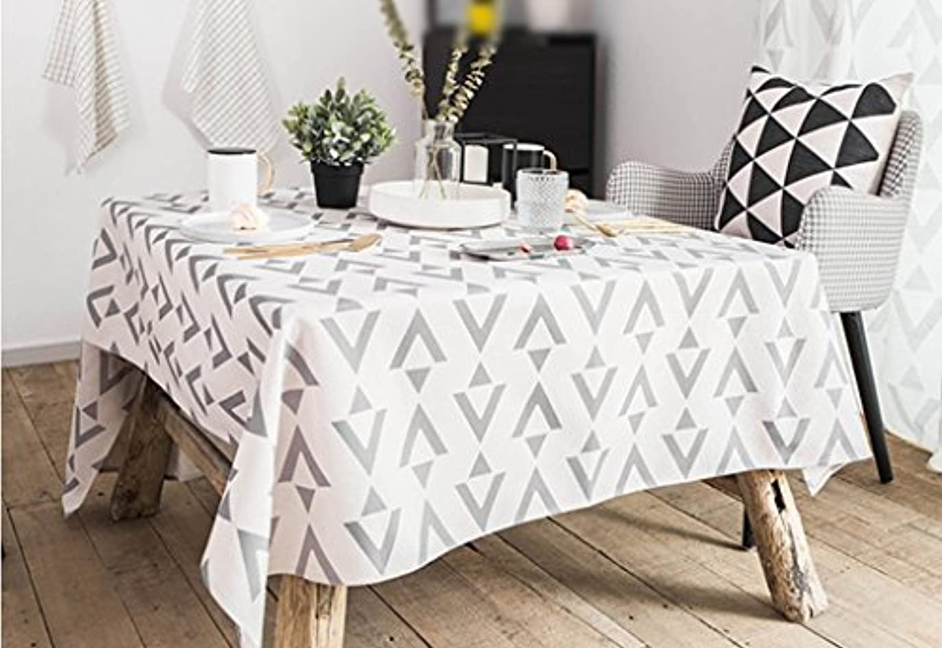 専門用語お互い無視するテーブルクロス 長方形 テーブルクロス、現代の幾何学図形のコットンリネンホームホテルシンプルなスタイルの長方形。 (Color : #1, Size : 140x180cm)