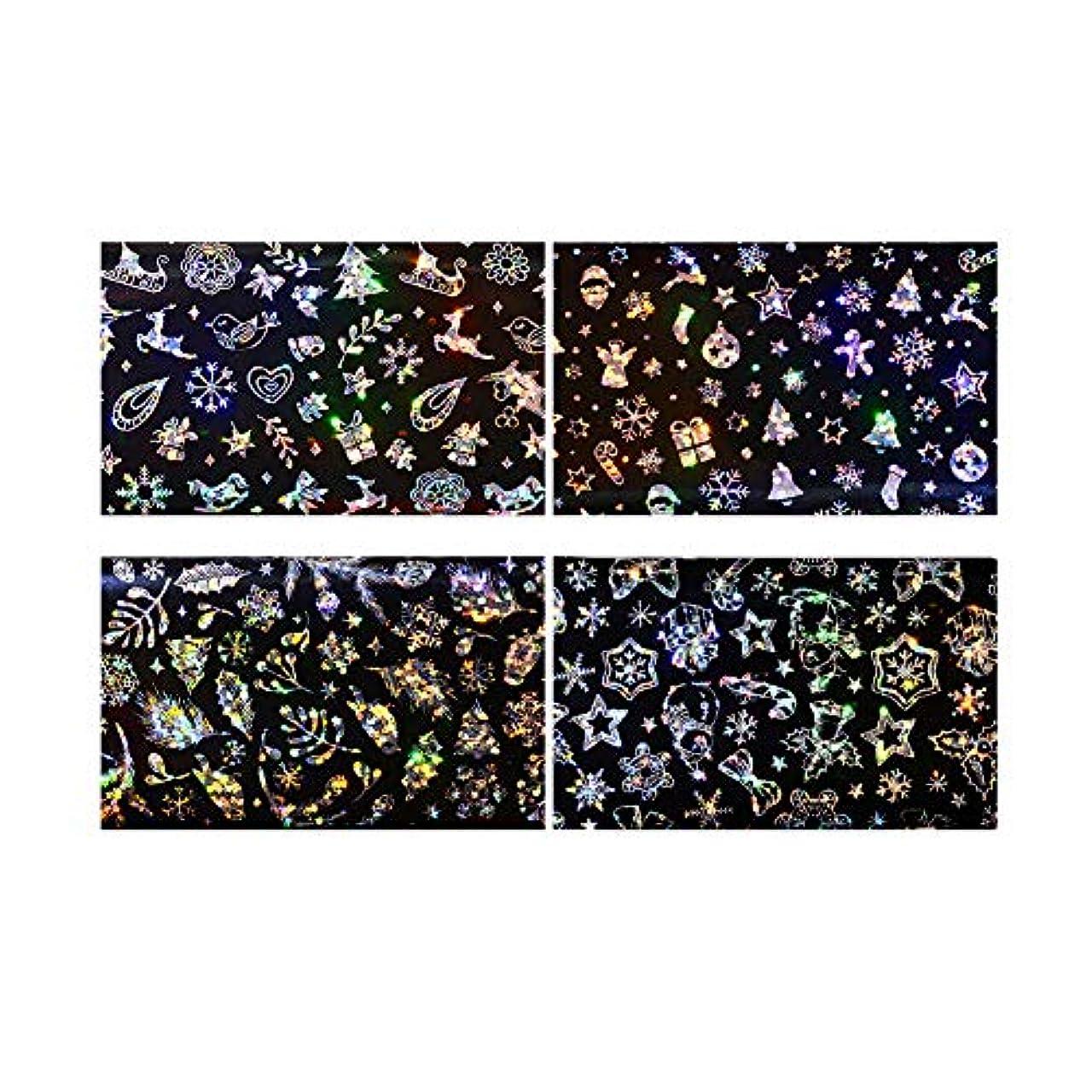 礼拝スキップ腹クリスマスグリッターネイルステッカー4枚のステッカーネイルステッカーはデザインフェスティバルの爪DIYの付属品ネイル
