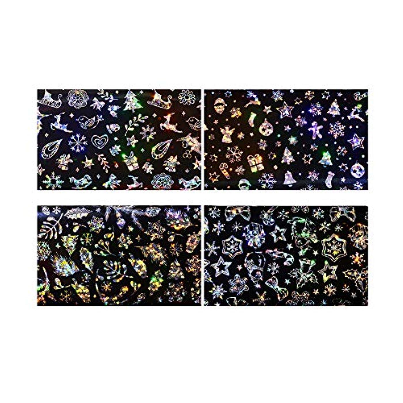 バケツ卵切り下げクリスマスグリッターネイルステッカー4枚のステッカーネイルステッカーはデザインフェスティバルの爪DIYの付属品ネイル