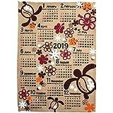 ハワイアン雑貨 2019年 カレンダー 壁掛け 麻 ジュート ポスター (ホヌ) ウミガメ 海亀 ハワイ 土産