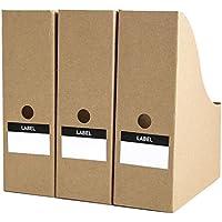 tyjyマガジンファイルストレージボックス、デスクトップストレージオーガナイザーfor Officeホーム、クラフト紙、3 - Pack 13×24×27cm ft-812