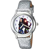 DISNEY Girls Descendants 2 Stainless Steel Analog-Quartz Watch with Leather-Synthetic Strap, Silver, 15 (Model: WDS000253)