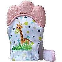 LAIZUZU 赤ちゃん 歯固め おもちゃ 食品級シリコン ベビー用手袋 手を噛んでいないように保護します、赤ちゃんの歯痛みを和らげます 3~12ヶ月対象 (ピンク)