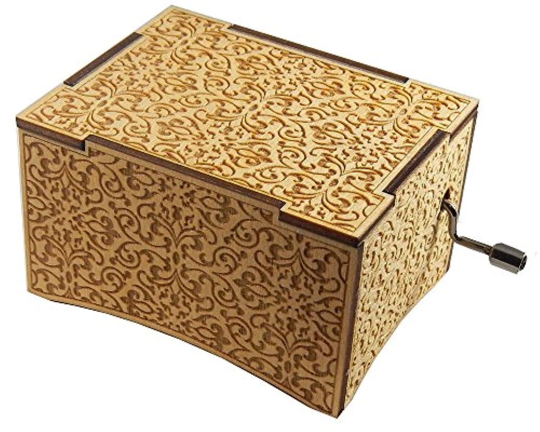デラックス音楽ボックス、「ムーン川、「Personalizableレーザー刻印、ハンドクランク、バーチ木製、ベルベットトレイ TLEDX111-4