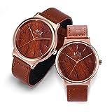 カップル腕時計 女性用男性用 クラシック クォーツ アナログ 30M防水 ブラウンレザー 素晴らしい記念日の贈り物 (ブラウン|ローズゴールド)