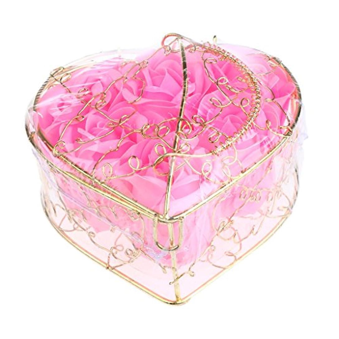 検査官基礎付属品Baosity 6個 ソープフラワー 石鹸の花 バラ 薔薇の花 ロマンチック 心の形 ギフトボックス 誕生日 プレゼント 全5仕様選べる - ピンク