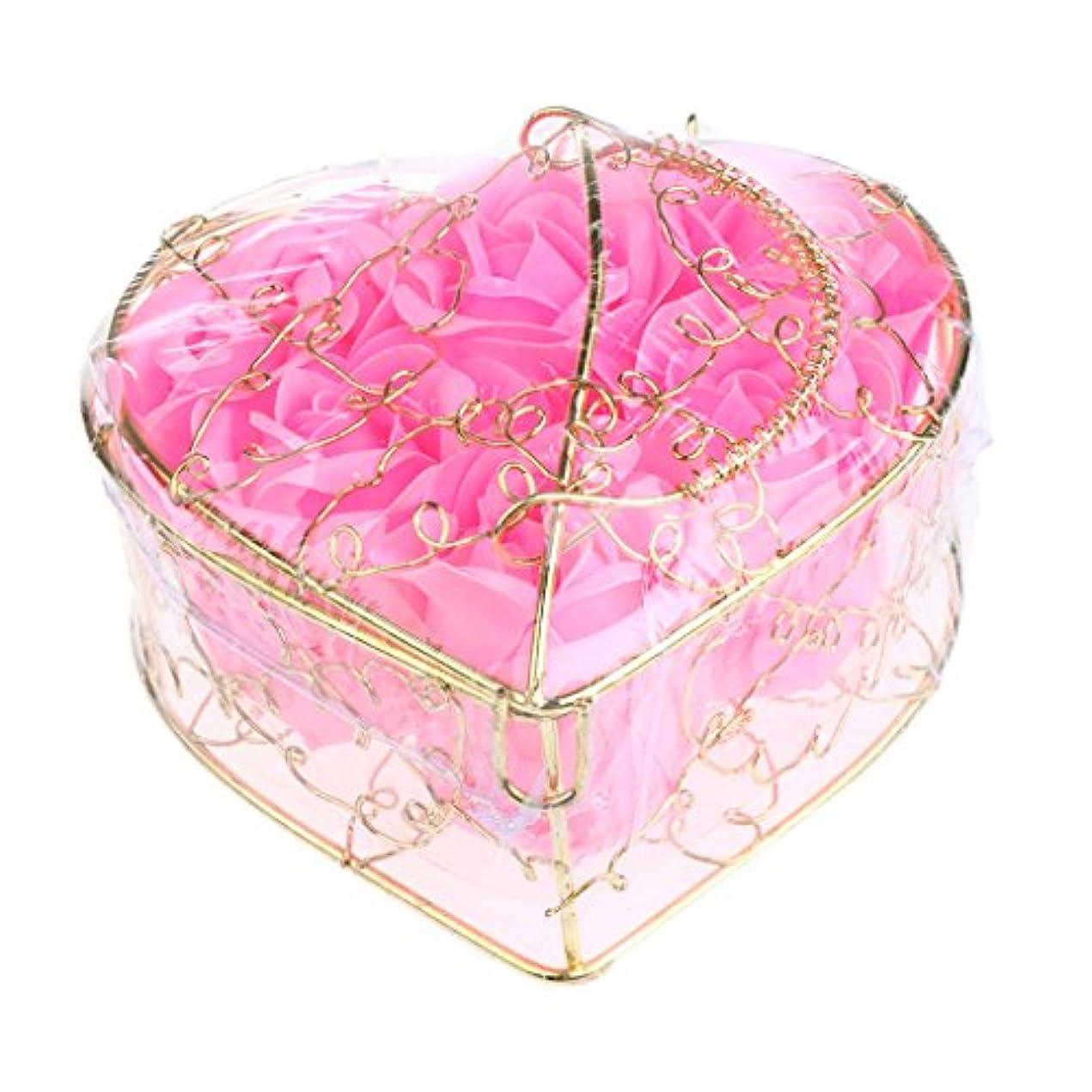 メナジェリー北東物理的な6個 ソープフラワー 石鹸の花 バラ 薔薇の花 ロマンチック 心の形 ギフトボックス 誕生日 プレゼント 全5仕様選べる - ピンク