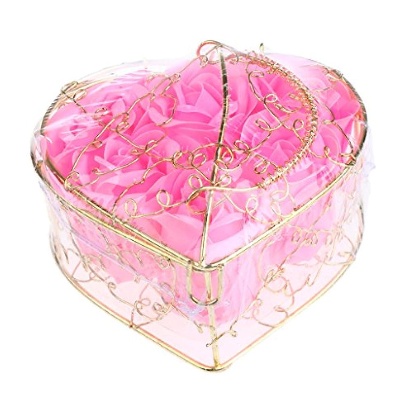 ダウンタウン操作可能誰でも6個 ソープフラワー 石鹸の花 バラ 薔薇の花 ロマンチック 心の形 ギフトボックス 誕生日 プレゼント 全5仕様選べる - ピンク