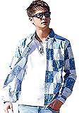 (キャバリア)CavariA デニムパッチワークプリント長袖シャツ 44(M) SAX(サックス)