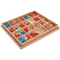 Zhenyu 赤ちゃん おもちゃ 木製 小型 可動式 アルファベット 赤と青 ボックス入り 幼稚園児 早期