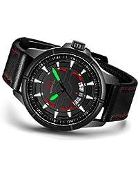 Menton Ezil ファッション メンズ スポーツ アナログウォッチ 本革レザー ルミナスハンド オート日付 腕時計 30M防水 クォーツ腕時計
