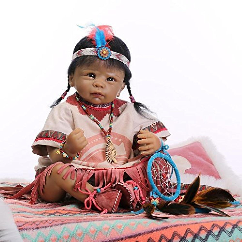 NPKDOLL Rebornベビー人形インディアンスタイルブラックスキン22インチ55 cmシミュレーションSiliconeビニールLifelike Vivid Boy Girl Toyドリームキャッチャー