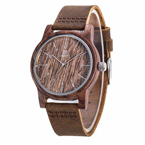 Eldori 木製腕時計 ウッドウォッチ 竹の木 腕時計 メンズ 日本クォーツ アナログ腕時計 本革バンド 天然木 敬老の日プレゼント 腕時計 プレゼント 贈り物 (C)
