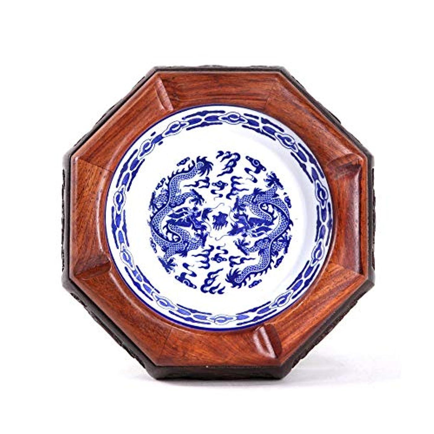 五感じるびっくりオフィスの居間の灰皿、中国のレトロな陶磁器並ぶ木製の灰皿、家の屋内と屋外の庭のエレガントな灰皿 (色 : L)