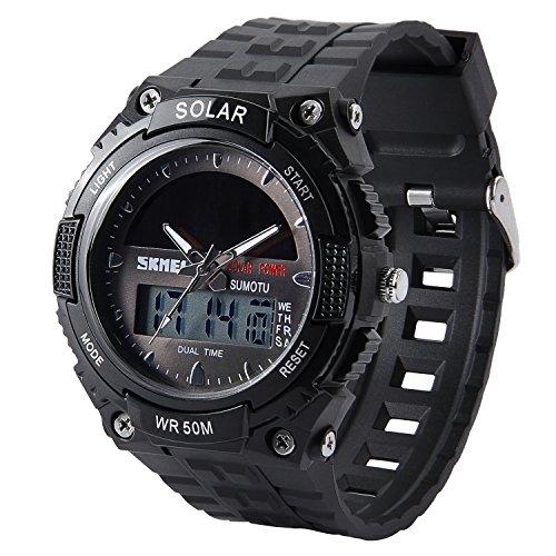 Hiwatch メンズ 腕時計 ソーラー アナデジ式 アラーム 防水 登山【Web日本語取扱説明書あり】