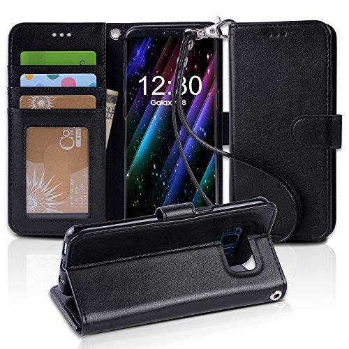 「Arae」 Samsung Galaxy S8 ケース 手帳型 Galaxy S8 ケース スタンド機能付き S8 ケース ストラップ付き Samsung S8 ケース マグネット内蔵 カードポケット付き (Galaxy S8, ブラック)