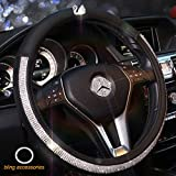 Alvaza Crystal Car Steering Wheel Cover Bling Bling Rhinestones Car Diamond with Genuine Leather and Swan Decro Not Slip Breathable Steering Covers