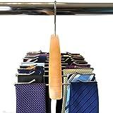 YUREN たっぷり 収納 ネクタイハンガー ベルトハンガー 24本 仕様 木製 ネクタイ クローゼット 整理 すべり落ち防止